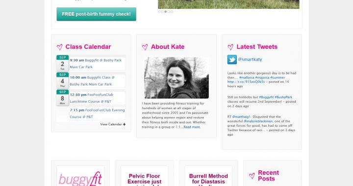 Kate Smart Fitness Website Screen Capture