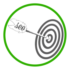 SEO icon with SEO arrow on target bullseye