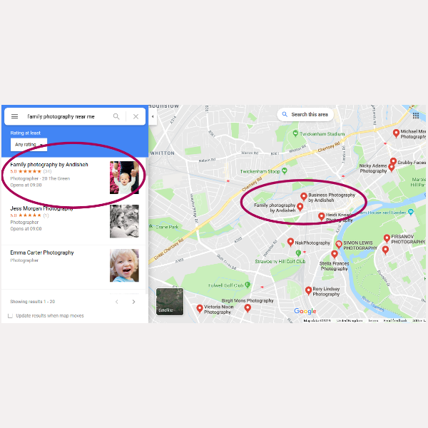 top of search results on near me maps result