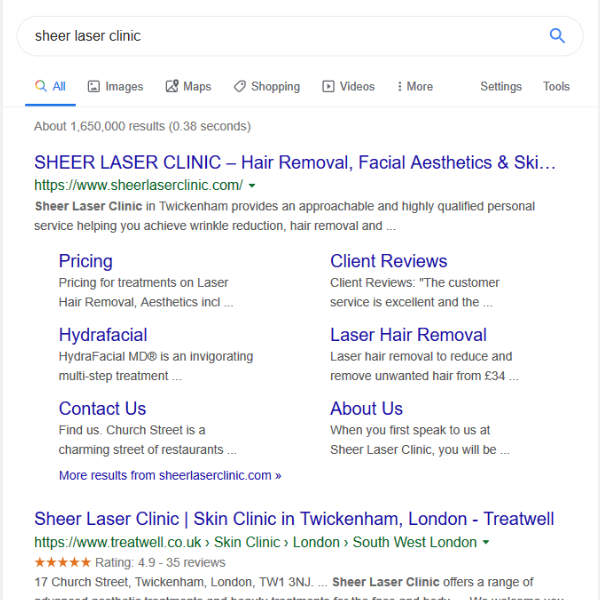 Sheer Laser Clinic brand name search results