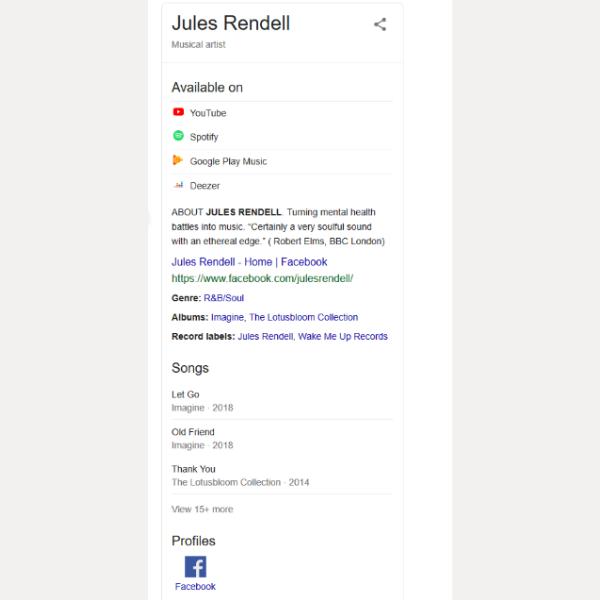 Jules Rendell musical artist profile